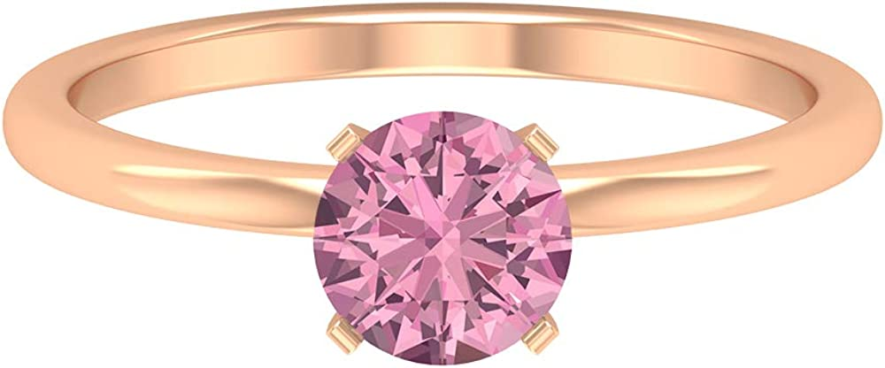 0.81 CT Solitaire Tourmaline Ring, Simple Engagement Ring, Solid Gold Wedding Ring, 14K Gold