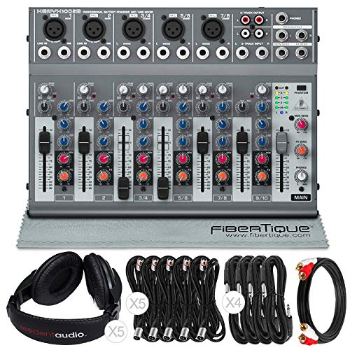 Behringer XENYX 1002B 10-Channel Audio Mixer and Accessory Bundle with 10X Cables + Closed-Back Headphones + Fibertique Cleaning Cloth. Buy it now for 184.00