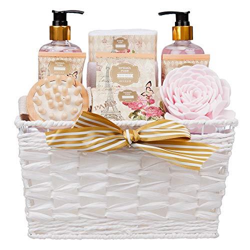Juego 9 piezas cesta spa diseño rosas británicas