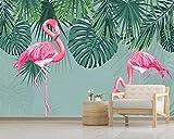 Mural 3D Flamenco Tropical Fotomural Para Paredes Mural Vinilo Decorativo Decoración Comedores, Salones,Habitaciones-250x175 cm