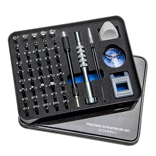 LHHZAL Juego de destornilladores para abrir agujeros 55 en 1, juego de herramientas de reparación de teléfonos móviles, tabletas y ordenadores (color: negro)