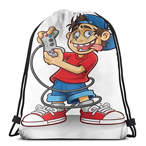 YUDILINSA Beutel Rucksack Kordelzug Turnbeutel,Zeichentrickfigur mit rückwärtigem Hut und verrückten Augen, die lustiges Gekritzel des Videospiels Spielen,Kordelzug Rucksack für Sport