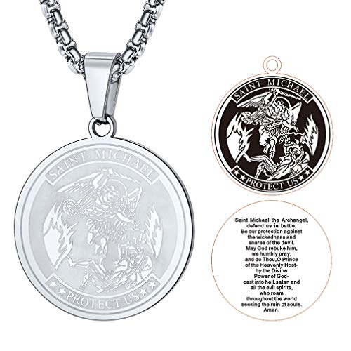 FaithHeart Saint Michael Anhänger, Medaille Glücksbringer Kette Schutzengel Amulett Beten Schmuck, Edelstahl Halskette für Herren……