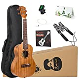 Kmise Tenor Ukulele Vintage Hawaiian Ukelele Mahogany Uke for Beginner With Starter Pack