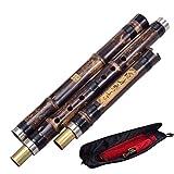 Flauta De Bambú Vertical China Xiao 8 Hoyos Afinada Con Precisión Instrumento De Música Cromática G/F Clave Dong Xiao Tres Secciones (Color : 1)