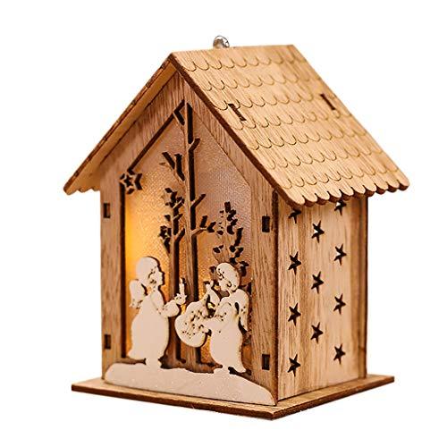 99native LED-Licht-Holzhaus-nette Weihnachtsbaum-hängende Verzierungs-Feiertags-Dekoration Weihnacht Party Nachtlicht Dekoration Requisiten Leuchtende Hängelampe Wohnzimmer Lichterkette (B)