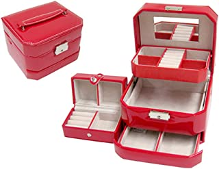 Jewelry Box for Women,PU Leather Jewelry Organizer,Mirrored Mini Travel Case,Lockable,red