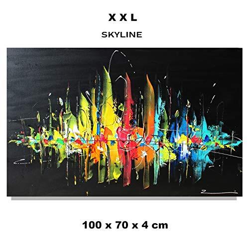 Stadt Skyline Bild Acrylgemälde handgemalt 70x100x4 cmZenic