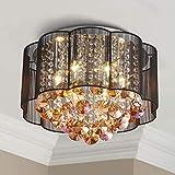 Bestier moderno cristallo goccia di pioggia tamburo nero lampadario paralume illuminazione soffitto montaggio a incasso lampada a LED lampada 6 lampadine a LED E14 richieste