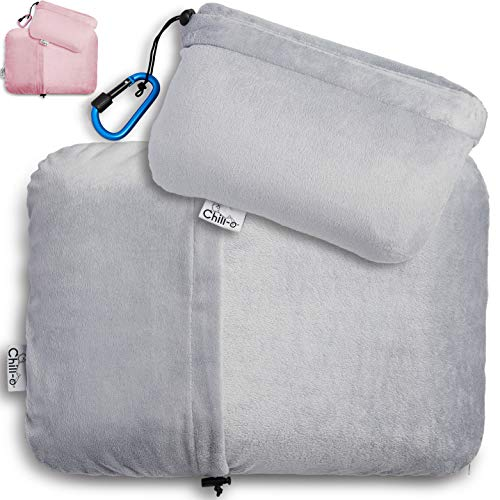 Chill-o Travel Pillow with Solid Memory Foam Gel Insert for Sleeping, Camping, Backpacking, Seat Cushion, and Lumbar Support - Kids & Adults - Easy Packing Using Pillow Case Pocket & Hook (Grey, 1)