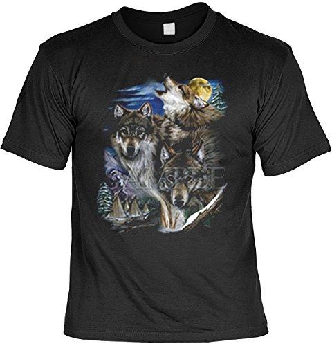 Mythologie der Ureinwohner Nordamerikas T-Shirt Wölfe und Indianerdorf (Größe: XL) in schwarz