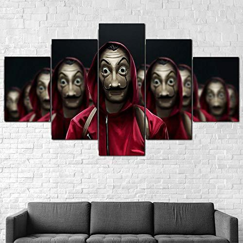 AWER Lienzos Cuadros Impresos Espectáculo Casa De Papel Money Heist Artística Imagen Gráfica Wall Art Panel Cuadros Modernos Decorativo para Tu Salón o Dormitorio 5 Piezas 150x80cm