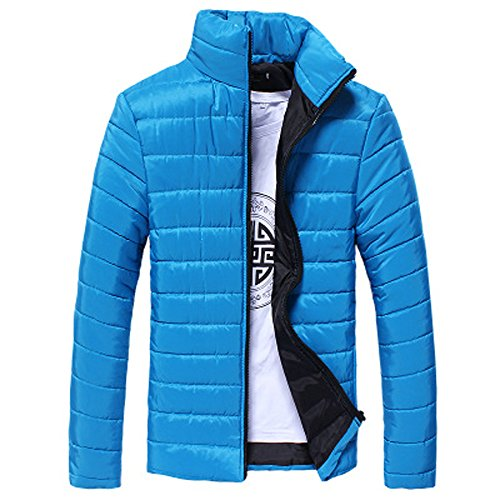 IMJONO Boys Men warm Stand Kragen Slim Winter Zip Mantel Outwear Jacke (EU-52/CN-3XL,Blau)