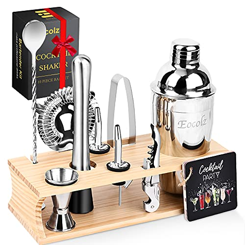 Eocolz Cocktail Shaker Bar Set Bartender Kit with Stand Accessories: Martini Shaker, Jigger, Strainer, Mixer Spoon, Tongs, Pourer, Muddler, Bottle...