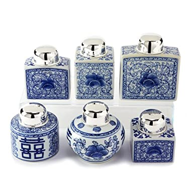 Two's Company Canton Collection Tea Jars, Set of 6