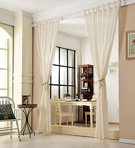 WOLTU VH5863cm-2, 2er Set Gardinen transparent mit Schlaufen Leinen Optik, Doppelpack lichtdurchlässige Vorhänge Stores Fensterschal für Wohnzimmer Kinderzimmer Schlafzimmer Küche, 140x245 cm Crème