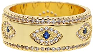 ATJMLADYJEWELRY US Size 6 7 8 Lucky Turkish Evil Eye Gold Wide Band Finger Ring for Women