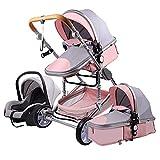 Sillas de Paseo Cochecito de Bebé 3 en 1 Triciclo Baby Walker Cochecito de Alto Paisaje Cochecitos Plegables Carrito de Bebé para Bebé 0-36 Meses (Rosa gris)