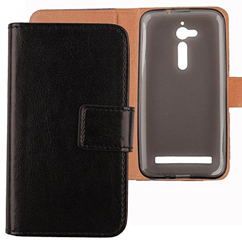 Gukas Flip PU Pelle Case Wallet Cover Custodia Caso Guscio Protettiva Skin Per Asus ZENFONE GO ZB500KG/ZB500KL 5' Nero Design