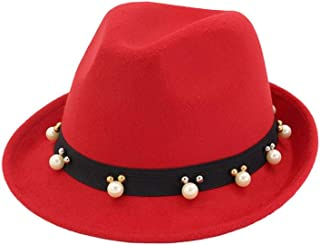 SAIPULIN-AU 2019 Men's and Women's Autumn and Winter Fedora Hat Couple Dating Outdoor Humboldt Travel Woolen Hat Wide Side Jazz Cap (Color : Red, Size : 56-58)
