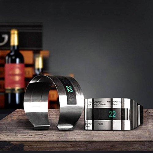 ILS - LCD Edelstahl Thermometer Wein Armband Kreativ Thermometer für Wein