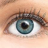 GLAMLENS lentillas de colores azules Bella Blue + contenedor. 1 par (2 piezas) - 90 Días - Sin Graduación - 0.00 dioptrías - blandos - Lentes de contacto azul de hidrogel de silicona
