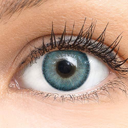 Blaue Farbige Kontaktlinsen Bella Blue - Blau Sehr Stark Deckende SILIKON COMFORT NEUHEIT von GLAMLENS + Behälter - 1 Paar (2 Stück) - DIA 14.20 - ohne Stärke 0.00 Dioptrien