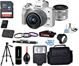 EOS M50 Mirrorless Digital Camera (White) with 15-45mm STM Lens + Deluxe Accessory Bundle + Inspire Digital Cloth
