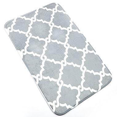 Bath Mat, U'Artlines Comfort Extra Thick Memory Foam Bath Mat Set Bathroom Mats Shower Rugs with Sbr Back and Flannel Surface (19.69x31.5 , Grey)