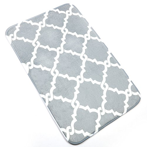 U'Artlines Bath Mat, Comfort Extra Thick Memory Foam Bath Mat Set Bathroom Mats Shower Rugs with Sbr Back and Flannel Surface (19.69x31.5, Grey)