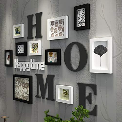 Photo mur Cadre Photo Collage Combinaison en Bois Massif Salon Cadre Restaurant créatif Fond Décoration Murale (Couleur : Black and White)