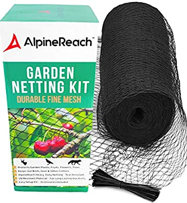 AlpineReach Garden Netting Kit 7.5 x 65 Feet Black Woven Mesh - Heavy Duty Protect Plants Fruits Flowers Trees - Stretch Fencing Durable Net with Zip Ties Fine Cover Gift Box Stops Birds Deer Animals