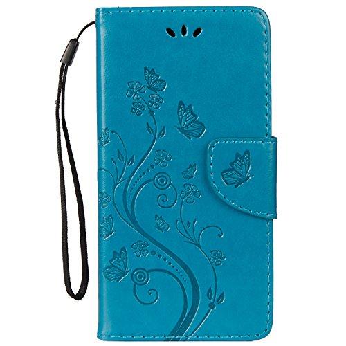 LEMORRY Handyhülle für ASUS Zenfone 3 ZE552KL Hülle Tasche Ledertasche Flip Beutel Slim Schutz Magnetisch Schließung Stehening SchutzHülle Weich Silikon Cover Schale für ZE552KL, Glückliche Gras Blau