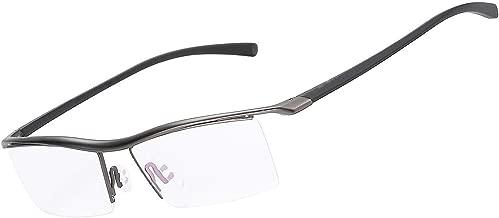 LUOMON Customize Prescription Glasses Men Semi Rimless Eyeglasses Titanium Frame