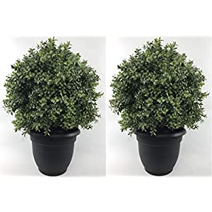 Silk Tree Warehouse Company Inc Two 24 inch Tall Outdoor Artificial 16 inch Wide Boxwood Topiary Balls UV Rated with Free 10 inch Decorative Pot