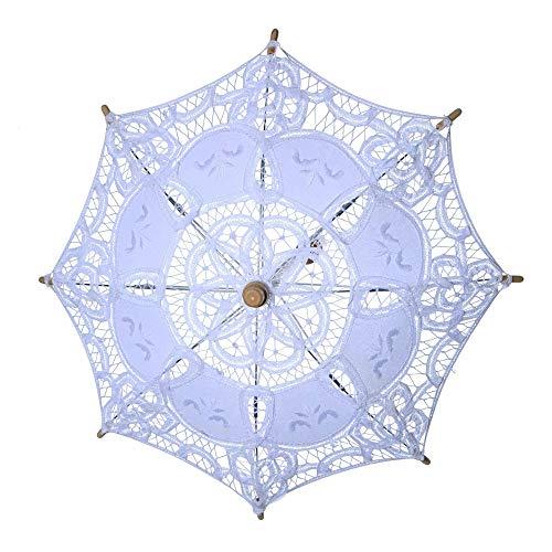 serliy Spitze Sonnenschirm Griff Regenschirm Vintage handgemachte Party Braut Hochzeit Dekoration (Weiß, S)