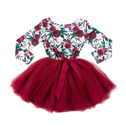 Girls Christmas Dress | Long Sleeve Floral Christmas Dress | (6-12 Months)
