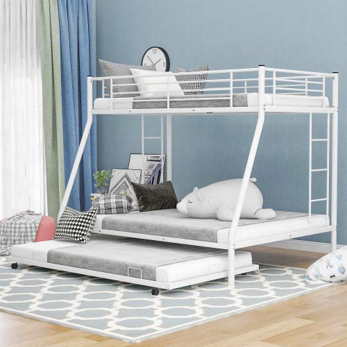 PovKeever Twin Over Full Bed with Sturdy Steel Frame, Bunk Bed with Twin Size Trundle, Two-Side Ladders