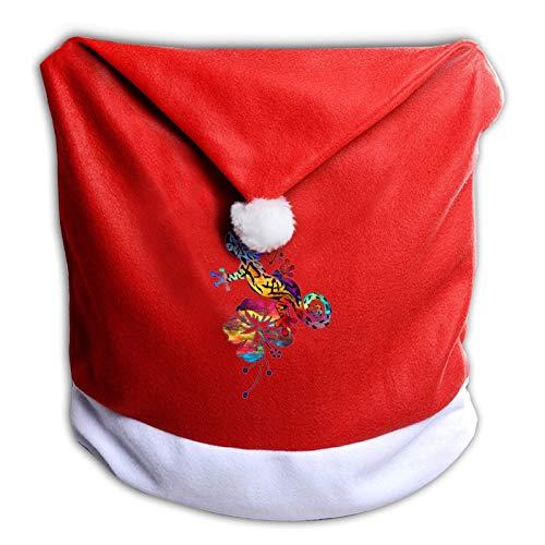 Leila Marcus Fundas de silla de Navidad Gecko Hawaii Flower Vintage.Png Santa Hat fundas para silla para comedor, vacaciones, decoraciones de Navidad, color rojo