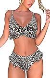 heekpek Bikini Traje de baño Conjuntos Playa Ropa Bañador a Cuadros Tanga Top Triángulo Relleno Braga con Volantes para 2 Piezas Mujer Sexy(Leopardo,S)