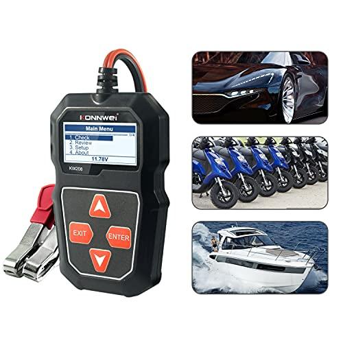 Probador de la Batería del Coche 12V 100-2000CCA Probador alternador Prueba Voltaje Onda Múltiples LCD para Automóvile Motocicleta ATVs RVs Powersports Barco Vehicle Battery Health