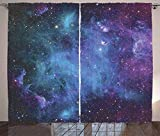 T&H Home Outer Space Curtains, Galaxy Stars in Space Celestial Astronomic Planets in The Universe Milky Way, 2 Panels Window Curtain for Dining Living Room Bedroom, 54' W by 39' L, Navy Purple