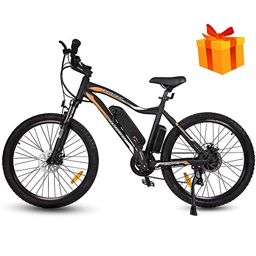 ECOTRIC Electric Mountain Bike 26' Alloy Frame 500W Powerful Motor 36V/13Ah Lithium Suspension Fork EBike Bicycle (Black) (Gifts)
