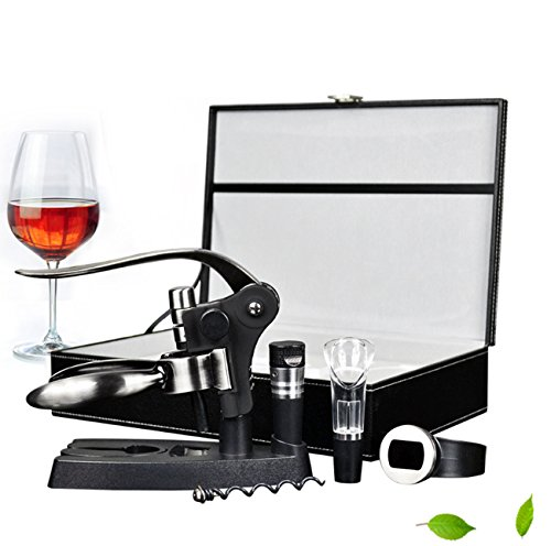 Kit ouvreur de vin, tire-bouchon de luxe, ouvre-bouteille rouge + coupe-capsule + bouchon de vin + aérateur de vin carafe + support + thermomètre à vin, serveuses de bar Accessoires et cadeaux de vin
