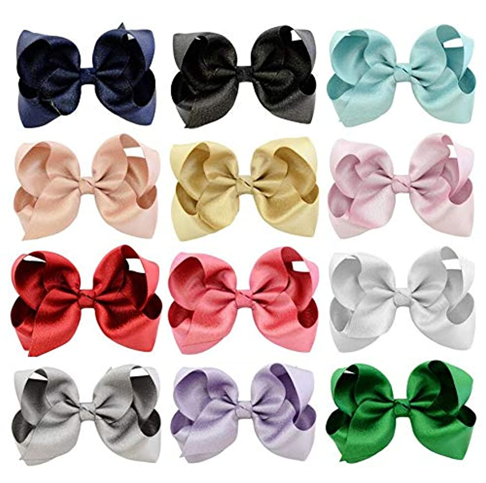 Mixed Style 4in Hair Bows for Girls Grosgrain Ribbon Large Bowknot Clip Teens Toddlers Kids Children(6pcs/lot) (Style 2)