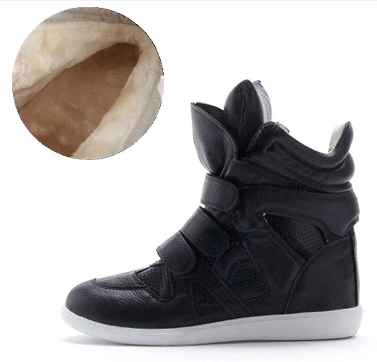 Women Casual Wedge Sneaker Fashion Hidden Wedges Canvas Ankle Boots Outdoor Plush High Top Walking shoes