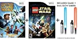 Star Wars Clone Wars + Lego Star Wars Complete Sage + Dual Glow Sabers for Nintendo Wii