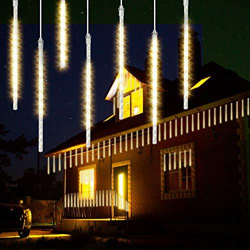 GPODER Doccia Pioggia Luci 30CM, 8 Impermeabile Spirale Tubo Luci della Pioggia di Meteore, 288 LEDs Waterfall Light per Natale/Esterno/Albero/Casa/Giardino/All'Aperto Decorazione(Bianco Caldo)