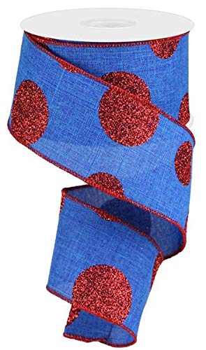 EXPRESSIONS Polka Dot 4th of July Ribbon: Royal Blue and Red 2.5' X 10 Yards