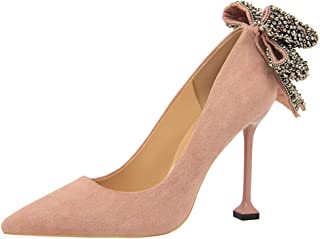 Sam Carle Women Pumps, Sexy Rhinestone Bow-Tie High Heel Shallow Mouth Pointed Toe Shoes